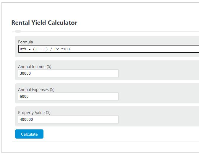 rental yield calculator