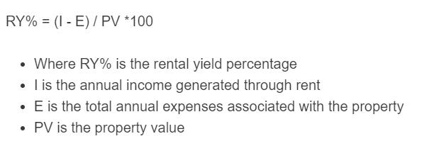 rental yield formula