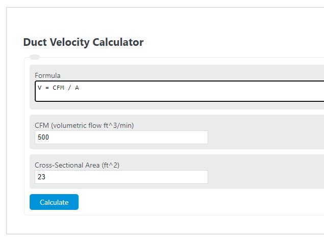 duct velocity calculator