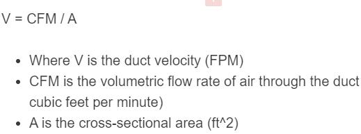 duct velocity formula