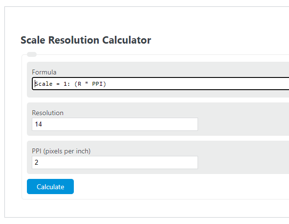 scale resolution calculator