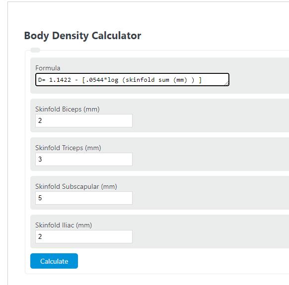 body density calculator