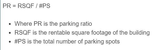 parking ratio formula