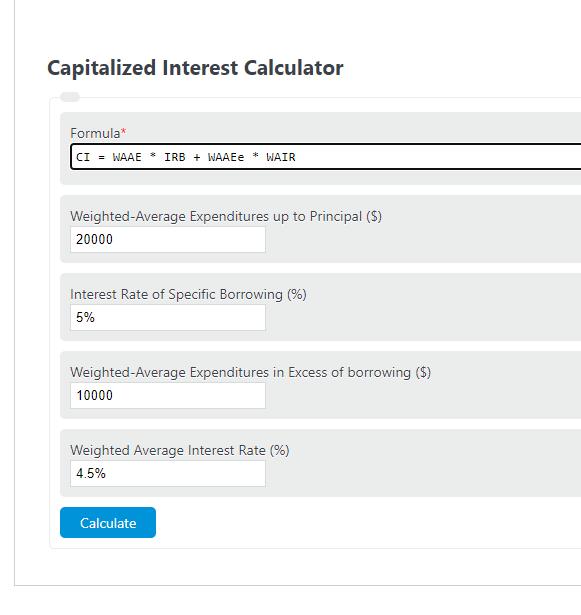 capitalized interest calculator