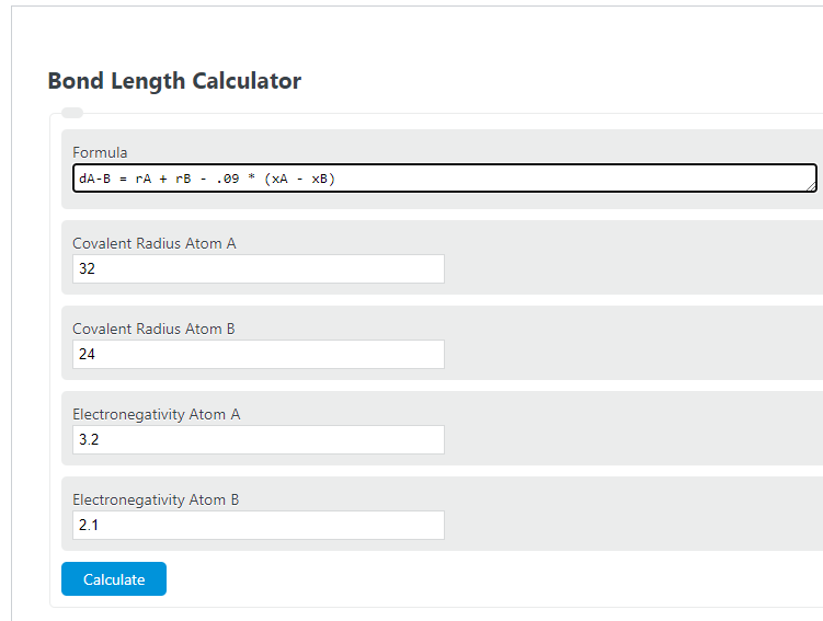 bond length calculator