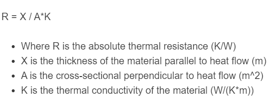 thermal resistance formula