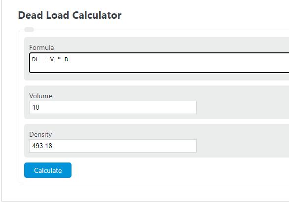dead load calculator