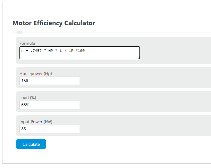 motor efficiency calculator