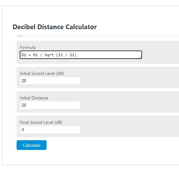 decibel distance calculator
