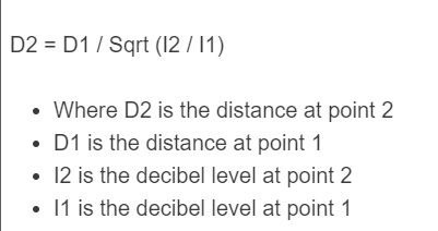 decibel distance formula