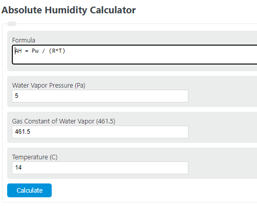 absolute humidity calculator