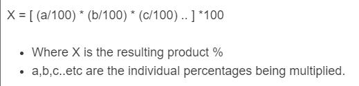 multiplying percentages formula