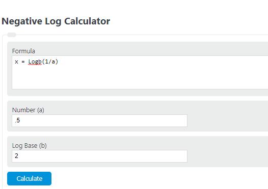 negative log calculator