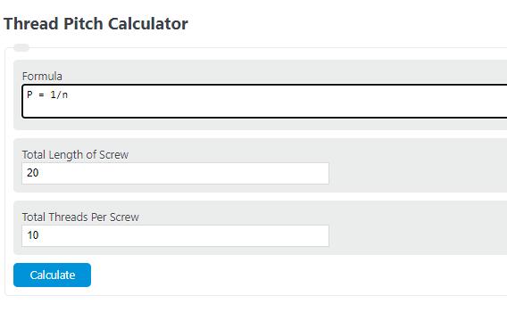 thread pitch calculator