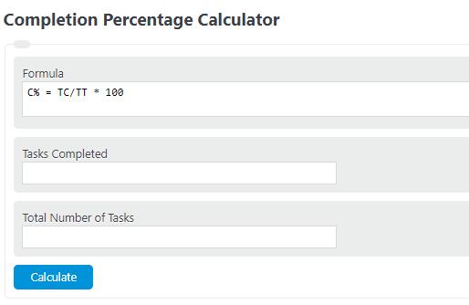 completion percentage calculator
