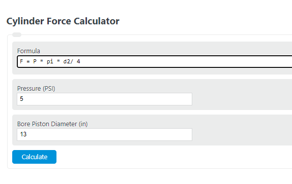 cylinder force calculator