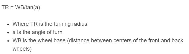 turning radius formula