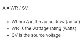 amps draw formula