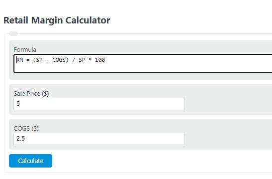 retail margin calculator