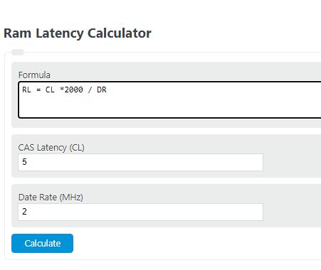 ram latency calculator