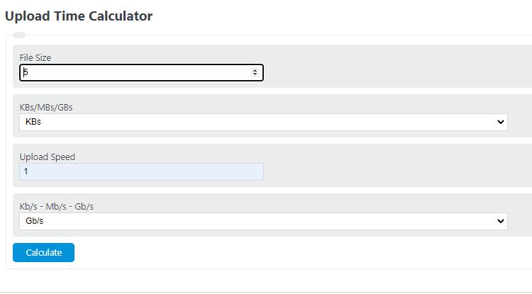 upload time calculator