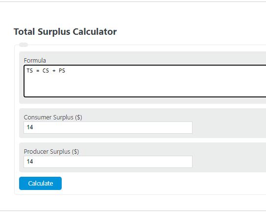 total surplus formula