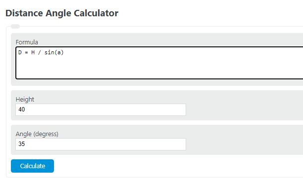 distance angle calculator