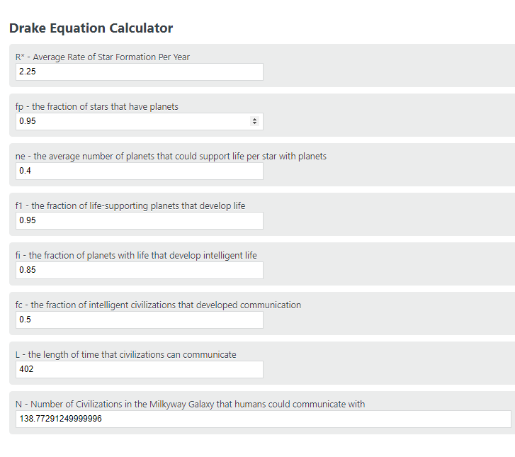 Drake Equation Calculator