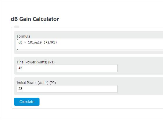 dB gain calculator