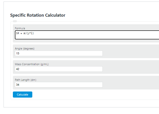 specific rotation calculator