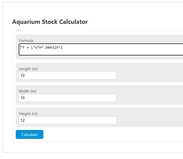aquarium stock calculator