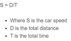 car speed formula