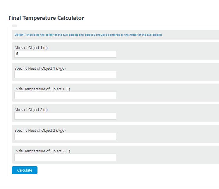 final temperature calculator