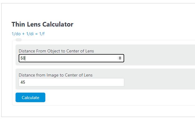 thin lens calculator