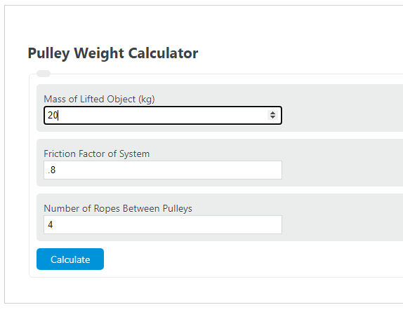 pulley weight calculator