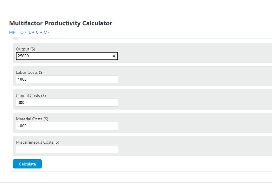 multifactor productivity calculator