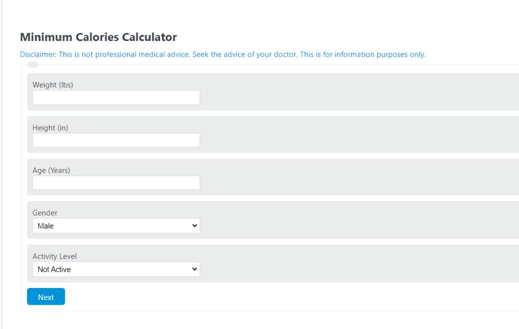 minimum calories calculator
