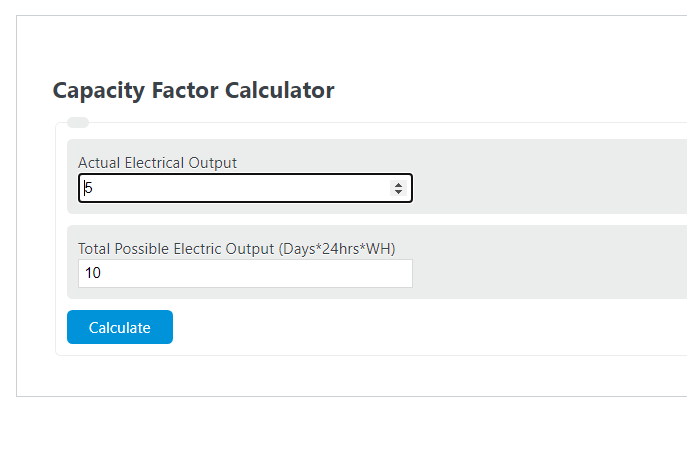 capacity factor calculator