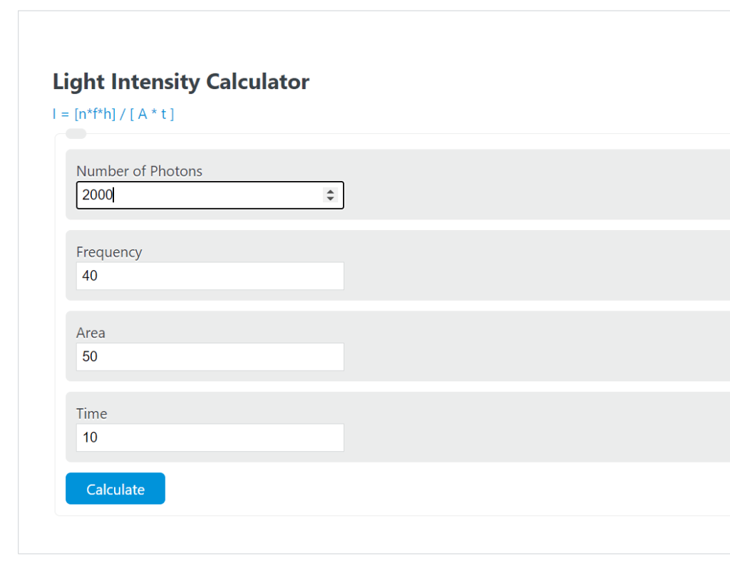 light intensity calculator