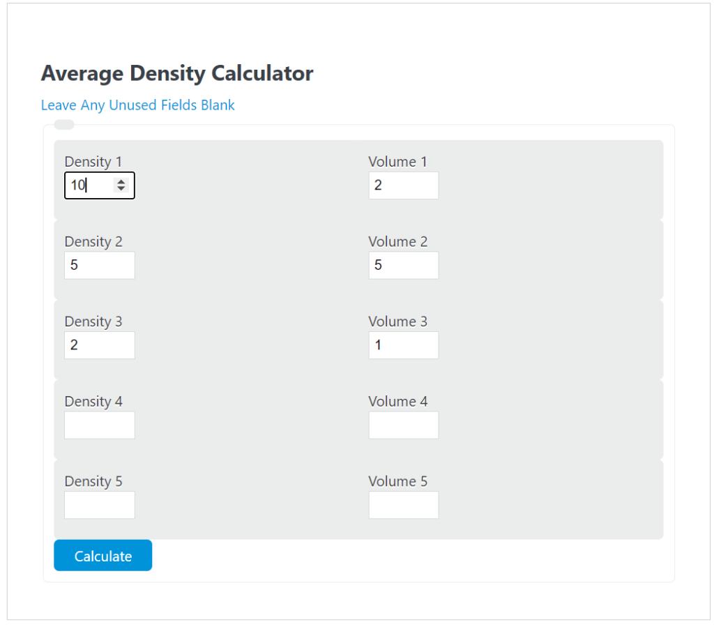average density calculator