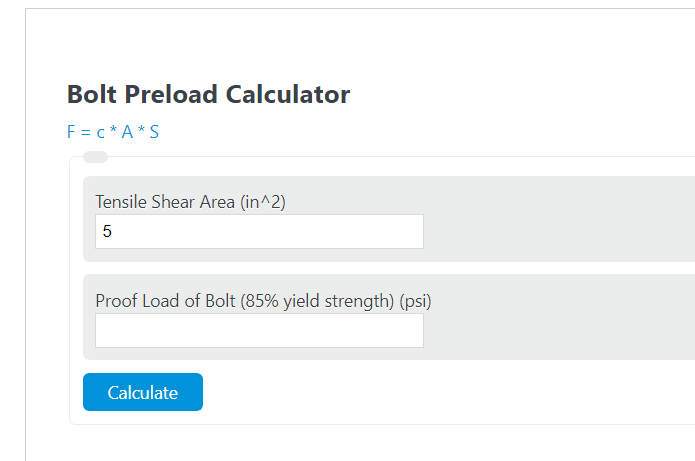 bolt preload calculator
