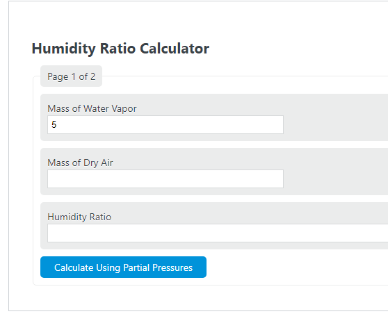 humidity ratio calculator