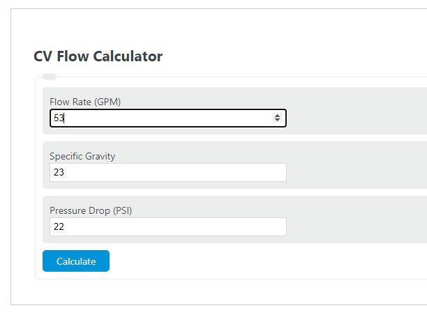 cv flow calculator