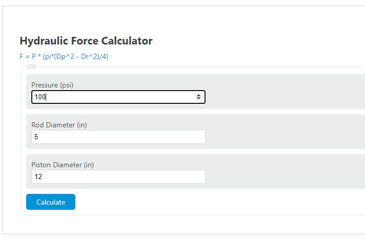 hydraulic force calculator