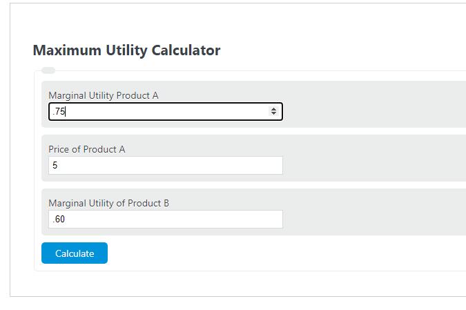 maximum utility calculator